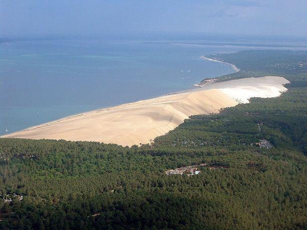 Het Dune de Pyla dat een dennenbos verder overwoekert