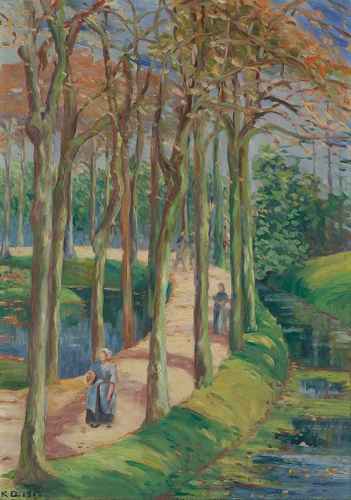 Katherine_Sophie_Dreier_-_Landscape_with_figures_in_woods_-_ca__1911_or_1912