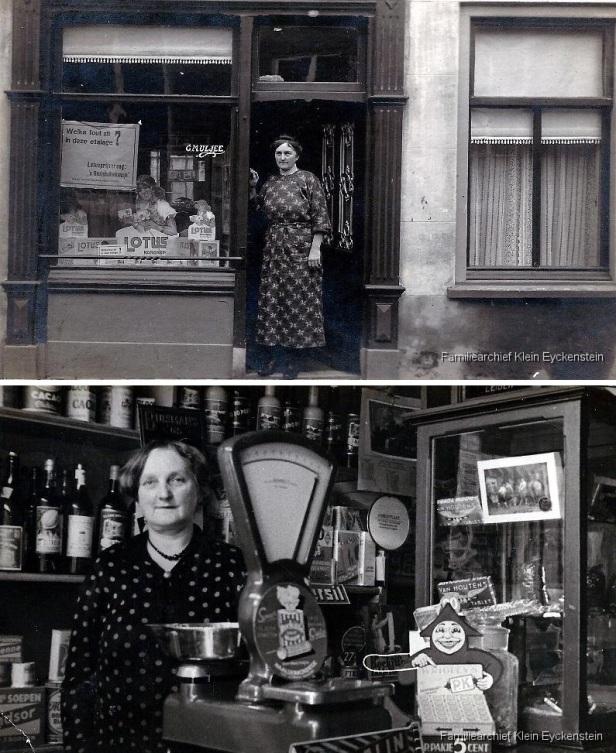 Tante Neeltje Uljee voor haar kruidenierswinkeltje in Noordwijk
